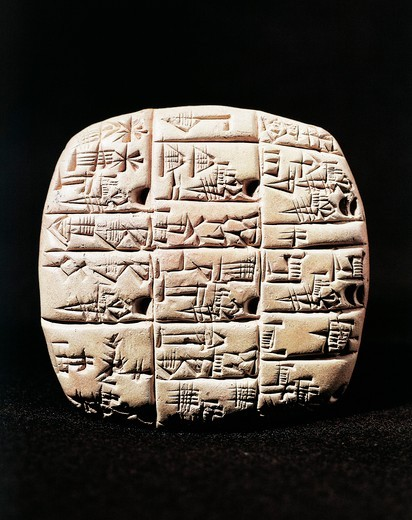 Administrative clay tablet in cuneiform script with count of donkeys and carts, from Tell Telloh (ancient Ngirsu), Iraq : Stock Photo