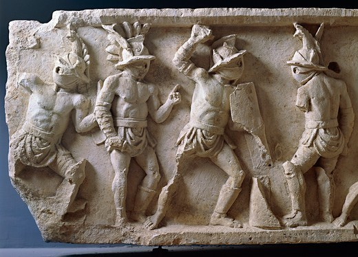 Relief with scenes of gladiatorial combat and games : Stock Photo