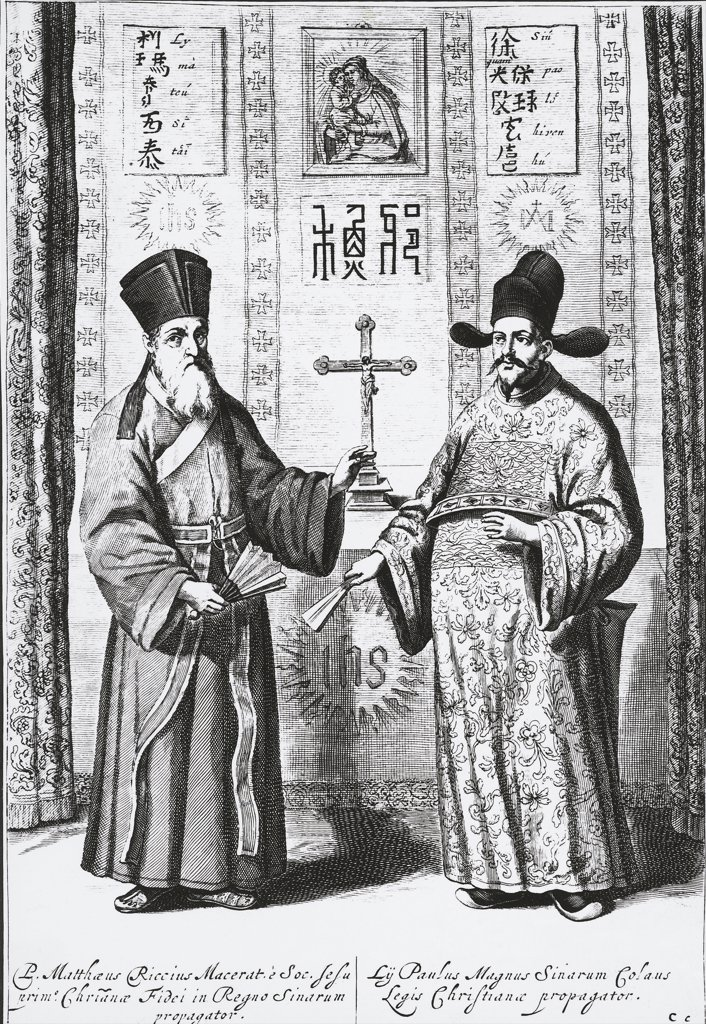 China - 16th century - The Jesuit missionary Matteo Ricci (1552-1610) and the Chinese scholar converted to Christianity Xu Guangqi (1562-1633), engraving : Stock Photo