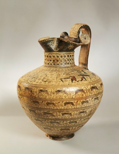 Oenochoe decorated with figures of goats fallowing deer and ibex, from Rhodes, Greece : Stock Photo