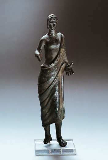 Bronze statue depicting offering bearer, from Marzabotto, Emilia Romagna Region, Italy : Stock Photo