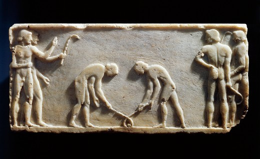 "Stock Photo: 1788-15866 Greek civilization, Plinth of kouros statue, bas-relief depicting players with sticks and ball, known as """"Hockey players"""", circa 490 B.C. from Kerameikos necropolis in Athens, Greece"