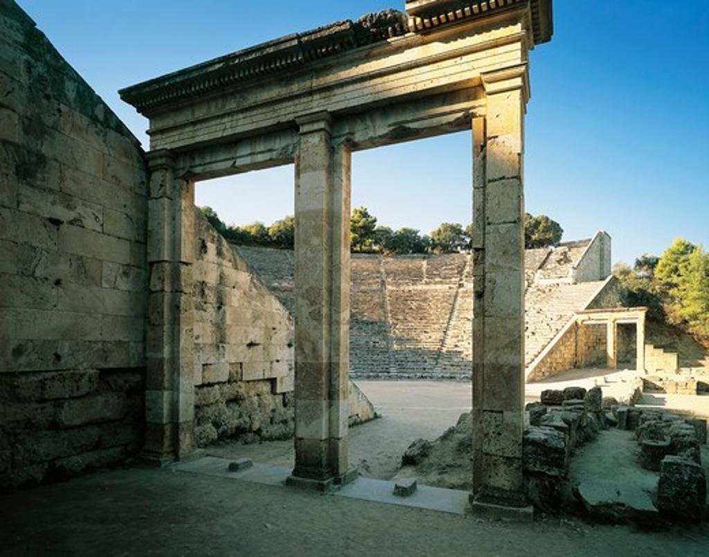 Greece, Peloponnesus, Epidaurus Hellenistic Theatre designed by architect Polyclitus : Stock Photo