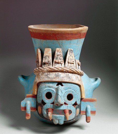 Stock Photo: 1788-16025 Aztec civilization, Mexico,, polychrome ceramic vase depicting Tlaloc, god of rain, Height 35 cm, from Templo Mayor (Main Temple) of Tenochtitlan,