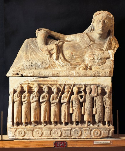 Etruscan civilization, alabaster urn, relief depicting funeral procession of magistrate : Stock Photo
