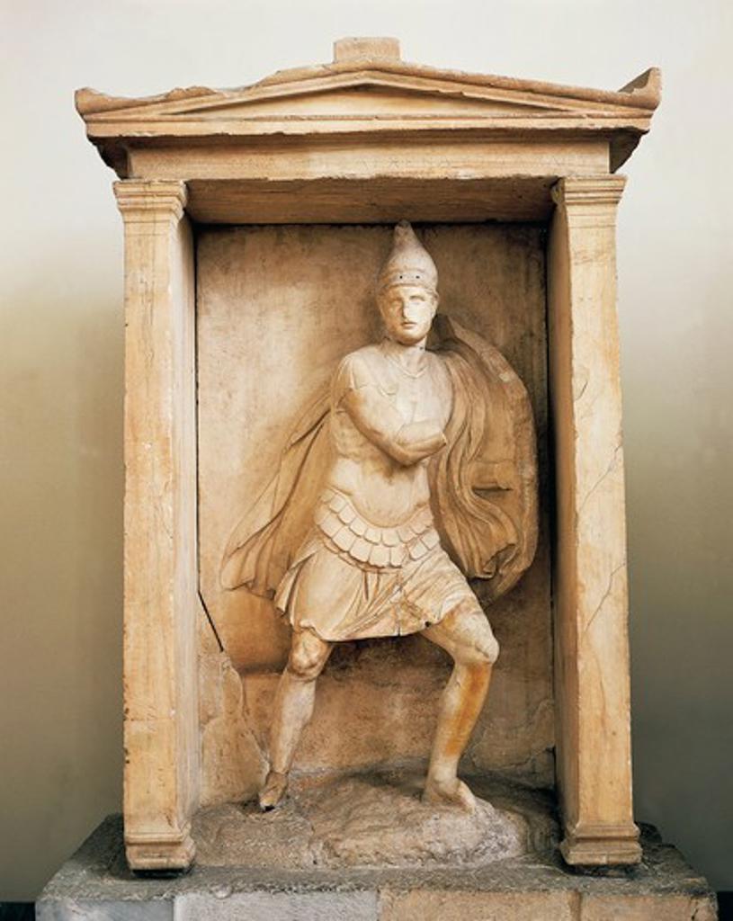 Stock Photo: 1788-16079 Funerary aedicule of Aristonautes, temple-shaped monument, from Kerameikos Necropolis Athens, Greece