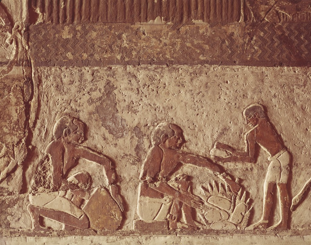 Egyptian Civilisation. Painted relief of bread making : Stock Photo