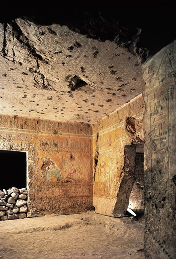 Egypt Ancient Thebes, Luxor, Valley of Queens, interior of tomb of Queen Thiti : Stock Photo