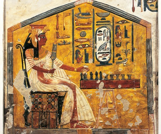 Egypt, Thebes, Luxor, Valley of Queens, Tomb of Nefertari, detail of antechamber frescoes, Queen Nefertari playing Senet : Stock Photo