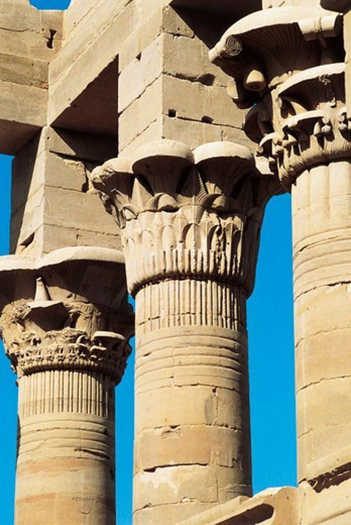 Stock Photo: 1788-16176 Egypt, Aswan, Agilkia Island, Nubian monuments at Philae, Roman Kiosk of Trajan, capitals of columns
