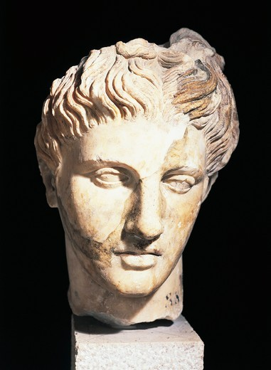 Roman civilization, head of Apollo Liceo, Roman copy of original by Praxitelean School : Stock Photo