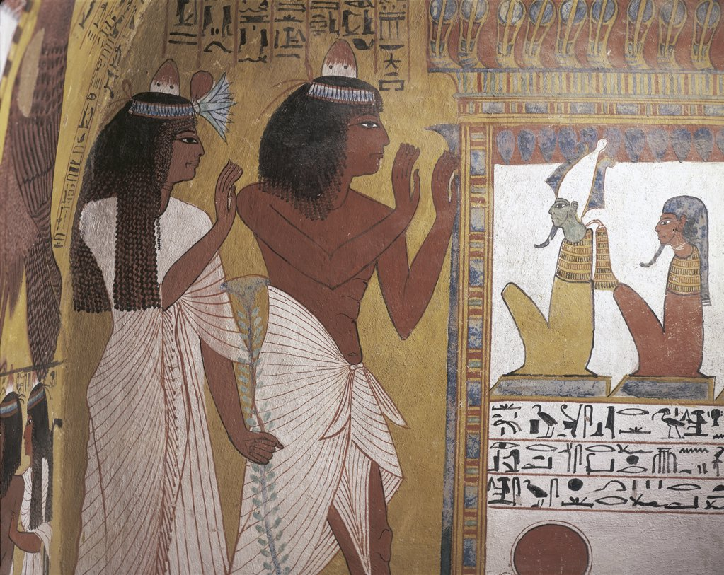 Egypt - Ancient Thebes (UNESCO World Heritage List, 1979). New Kingdom village of state labourers at Dayr al-Madinah (Deir el-Medina). Tomb of Sennedjem. Mural painting, afterlife : Stock Photo