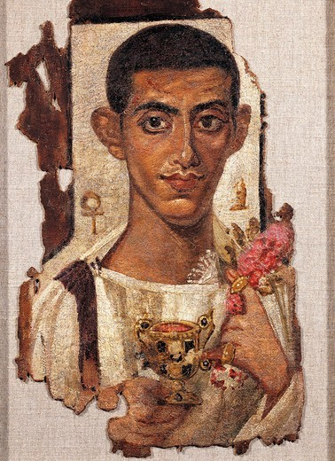 Stock Photo: 1788-16255 Egyptian civilization, Portrait of young man holding ciborium and flowers, Distemper painting on wood, From Al Fayyum, Egypt