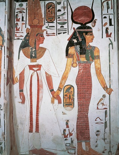 Egypt, Ancient Thebes, Luxor, Valley of Queens, Tomb of Nefertari, Detail of frescoes in burial chamber, Queen Nefertari preceded by Isis : Stock Photo
