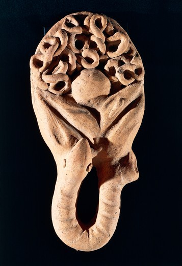Etruscan civilization, Terracotta votive offering depicting an intestine, From Tessennano, Lazio Region, Italy : Stock Photo