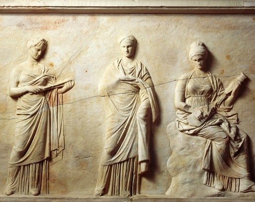 Greek civilization, Marble slab with relief attributed to School of Praxiteles, depicting Muses, from Mantinea, Greece : Stock Photo
