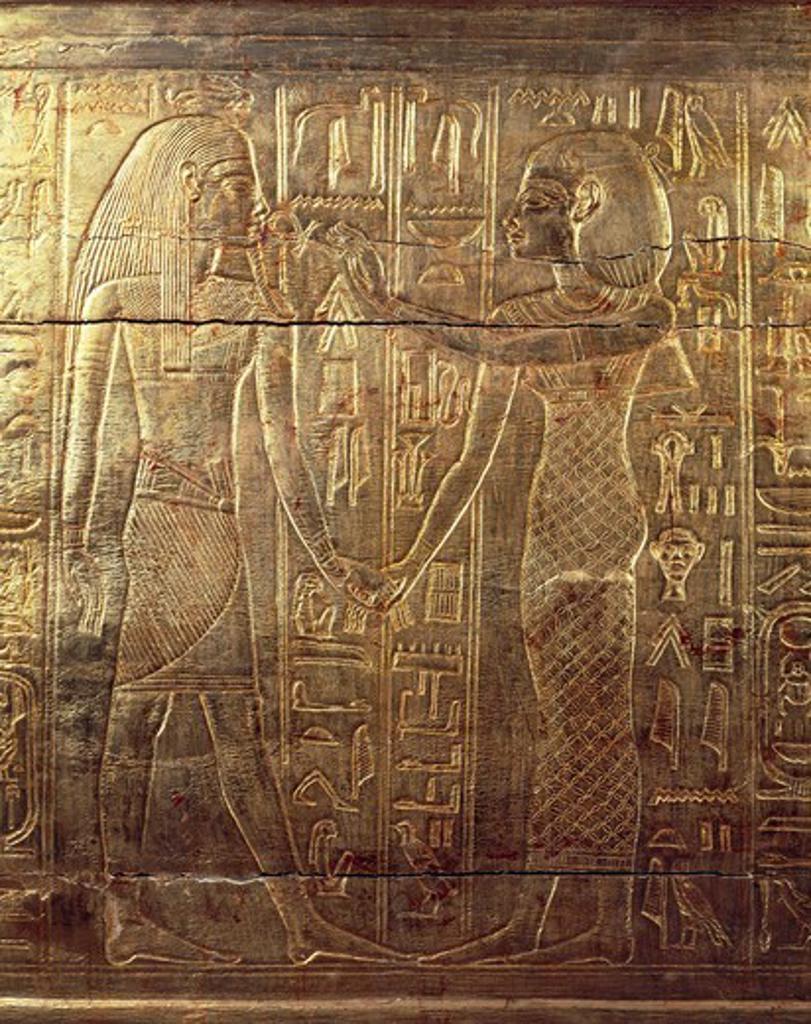 Stock Photo: 1788-16341 Treasure of Tutankhamen, Goddess Nephthys offering ankh, key of life, to Pharaoh from Valley of Kings, tomb of Tutankhamen, New Kingdom, Dynasty XVIII