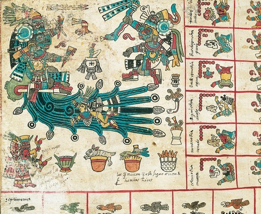 Stock Photo: 1788-16393 God Tlaloc, page from manuscript Codex Borbonicus, 1562-1563,