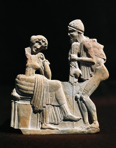Stock Photo: 1788-16406 Polychrome terracotta relief depicting Ulysses and Penelope, 450 B.C.