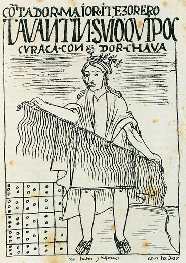 Inca man holding quipu, device made of strings and knots used to count and record numeric information, engraving from Felipe Guaman Poma de Ayala (1550-after 1615), Nueva Cronica y Buen Gobierno, 1587 : Stock Photo