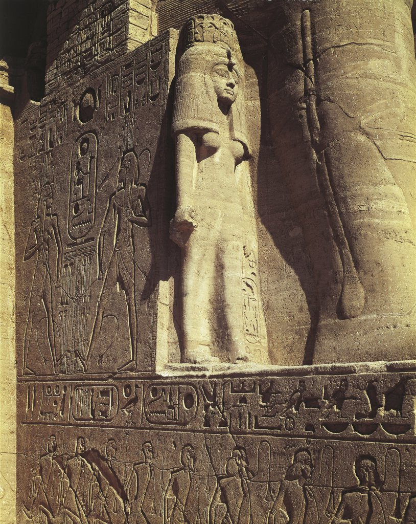 Egypt. Nubian monuments at Abu Simbel (UNESCO World Heritage List, 1979). Great Temple of Ramses II. Figure of Nefertari : Stock Photo