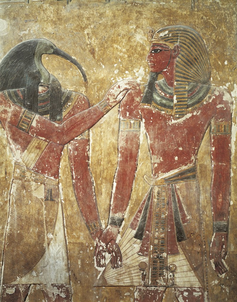 Egypt - Ancient Thebes (UNESCO World Heritage List, 1979). Valley of the Kings. Tomb of Seti I. King and god Thot, mural painting : Stock Photo