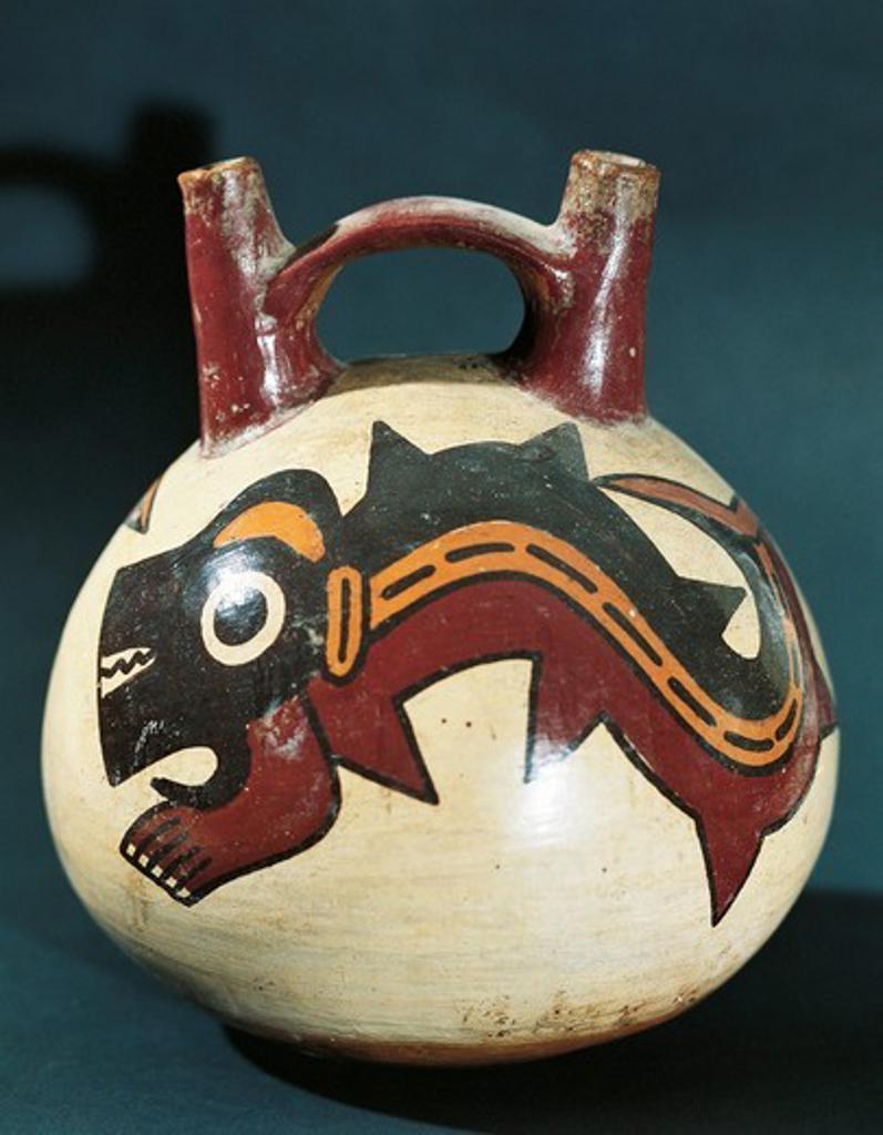 Peru, Pre-Inca civilization, Nazca culture, Double spout and bridge vessel with painted dolphin figure : Stock Photo