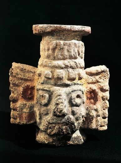 Polychrome stone statue of Tlaloc, god of rain, from Temple Mayor, Tenochtitlan, Mexico : Stock Photo