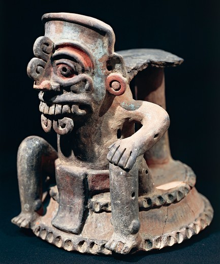 Stock Photo: 1788-16551 Polychrome ceramic statuette, from Guatemala highlands
