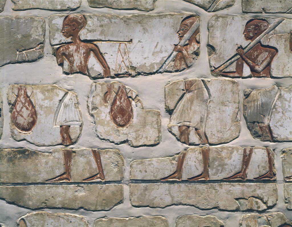 Egypt - Ancient Thebes (UNESCO World Heritage List, 1979). Karnak. Talatat wall, detail. : Stock Photo