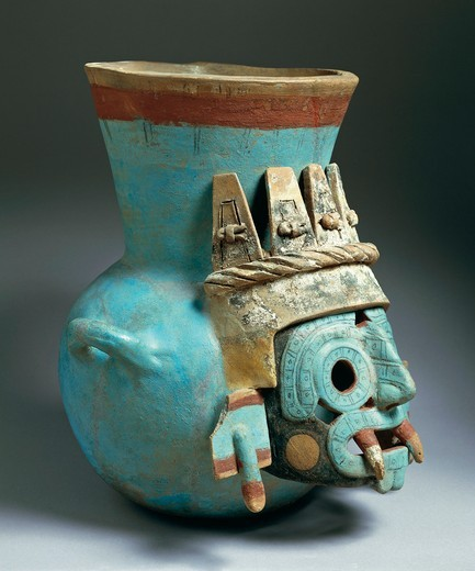 Stock Photo: 1788-16561 Polychrome ceramic amphora of Tlaloc, Rain God, from Temple Mayor, Tenochtitlan, Mexico