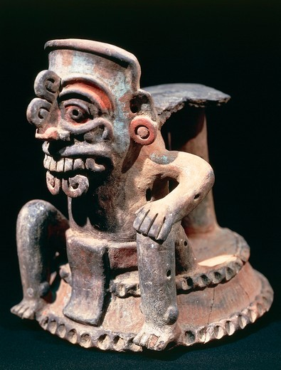 Stock Photo: 1788-16562 Polychrome ceramic statuette, from Guatemala highlands