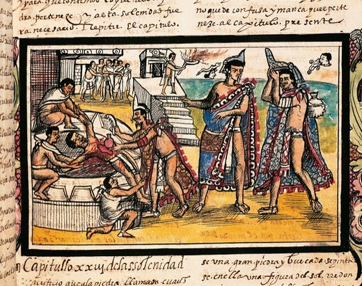 Mexico, human sacrifice before Temple of Tenochtitlan, from The History of the Indies of New Spain, manuscript by Diego Duran, 1579 : Stock Photo
