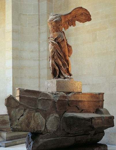 Parian marble statue of winged Victory of Samothrace, also called Nike of Samothrace : Stock Photo