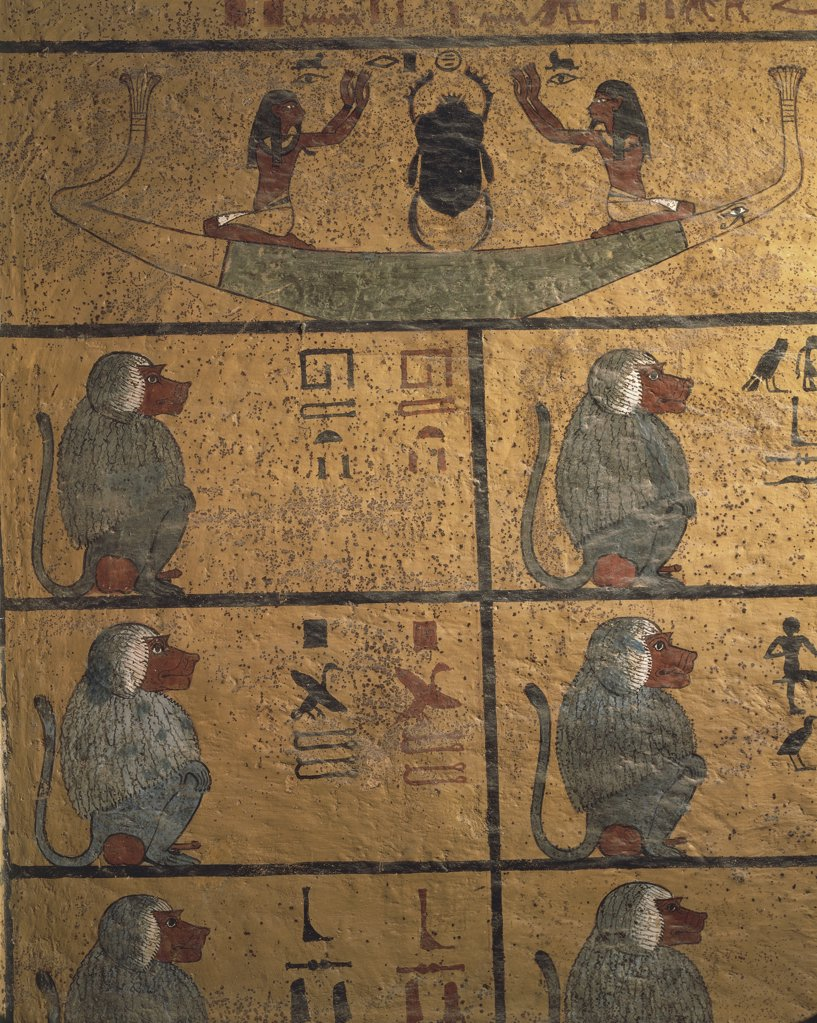 Stock Photo: 1788-1667 Egypt - Ancient Thebes (UNESCO World Heritage List, 1979). Valley of the Kings. Tomb of Tutankhamen. Burial chamber. Detail of west wall paintings