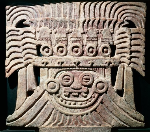 Clay decoration from Temple of god Tlaloc at Teotihuacan (City of the Gods). Teotihuacan civilization, Mexico : Stock Photo