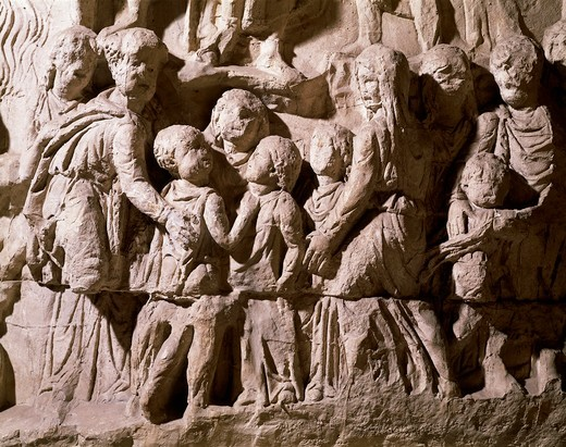 Stock Photo: 1788-16913 Relief from the Antonine Column depicting Barbarian family, detail