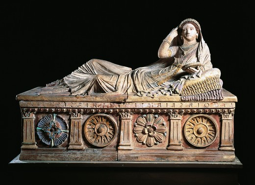 Stock Photo: 1788-16973 Etruscan terracotta sarcophagus of Larthia Seianti, detail depicting veiled woman wearing tunic and cloak. From Chiusi, Siena province, Italy, 6th Century B.C.
