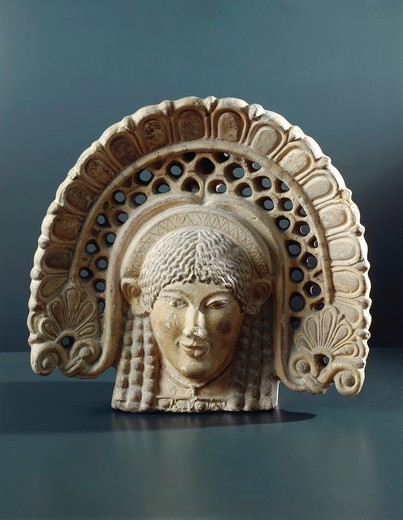 Etruscan antefix in shape of head of woman, from ancient Lanuvium, Rome Province, Italy, 5th Century B.C. : Stock Photo