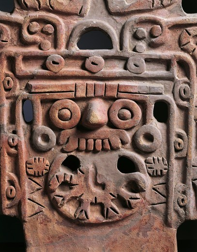 Detail of Pre-Columbian terracotta with relief depicting Tlaloc, Rain God, from Teotihuacan (City of the Gods), from Mexico, 6th-9th Century : Stock Photo