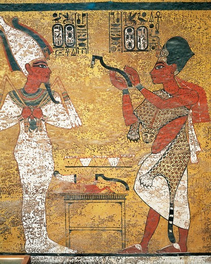 Stock Photo: 1788-17060 Pharaoh before Osiris, mural painting in Tomb of Tutankhamen