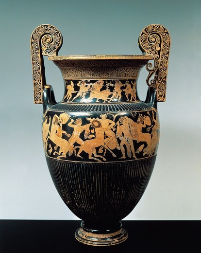 Red-figure pottery, Attic krater with scenes of Calydonian boar hunt and fight between Centaurs, from the Etruscan necropolis at Spina, Emilia Romagna region, Italy : Stock Photo