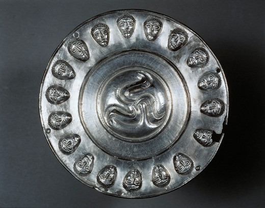 Embossed silver phalera, part of equestrian gear from Manerbio, Lombardy region, Italy, Celts, Italic civilization : Stock Photo