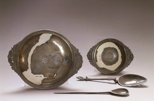 Silver plates and spoons, Roman civilization : Stock Photo