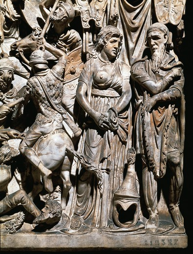 Stock Photo: 1788-17188 Sarcophagus of a general of Marcus Aurelius. Detail: barbarian woman prisoner, Roman civilization