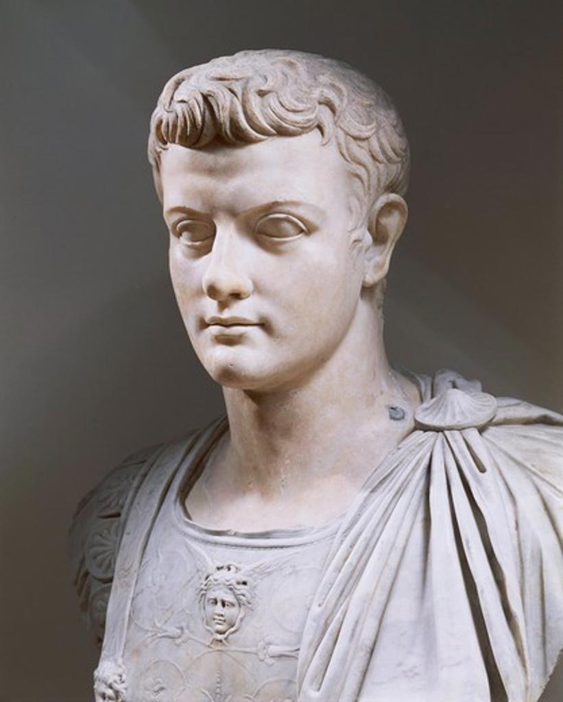 Marble bust of Emperor Caligula, Roman civilization : Stock Photo