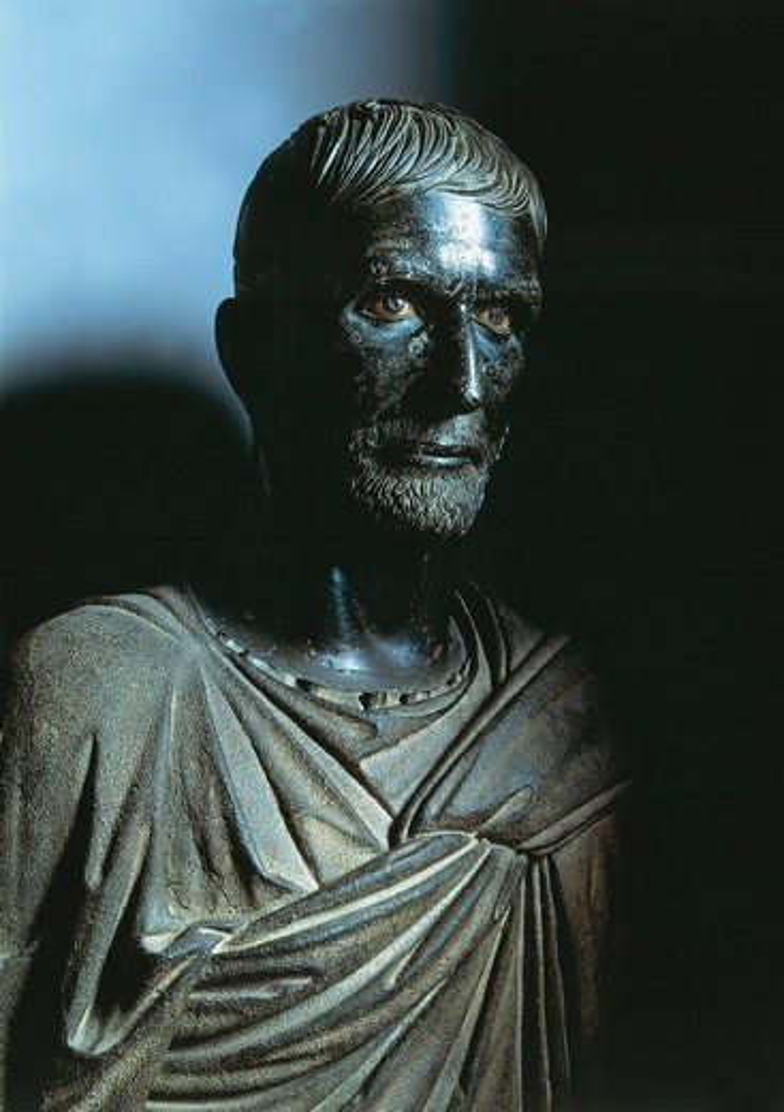 Bronze head portraying Lucius Junius Brutus, known as Capitoline Brutus, Etruscan civilization : Stock Photo