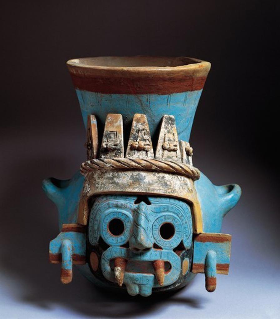 Stock Photo: 1788-17264 Mexico, Tenochtitlan, Templo Mayor (Main Temple), polychrome ceramic vase depicting Tlaloc, god of rain