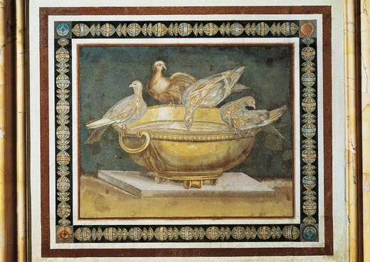 Stock Photo: 1788-17305 Bowl with doves, mosaic