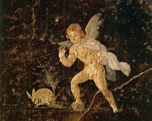 Fresco depicting Cupid hunting a hare from Pompeii, Naples province, Italy, Roman civilization : Stock Photo